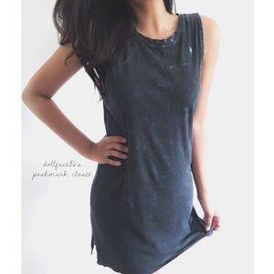 Dark wash Tie Dye T-Shirt Dress